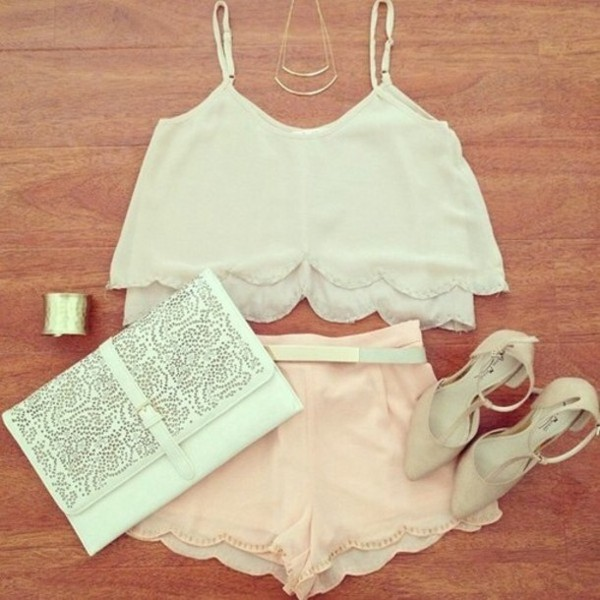 blouse shorts shoes purse