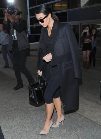 coat leggings black fall outfits kim kardashian shoes