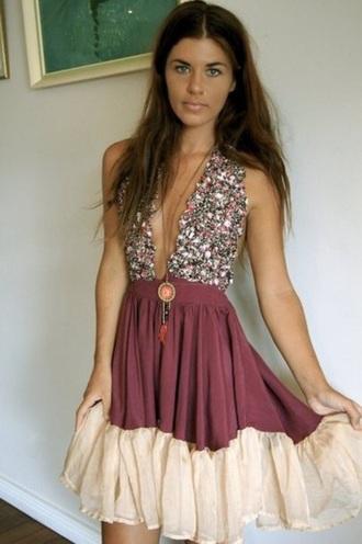 dress burgundy dress halter dress sequin dress boho dress pink dress knee length dress flower boho dress