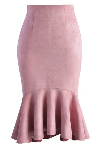 skirt sassy suede frill hem skirt in pink chicwish suede frill pink