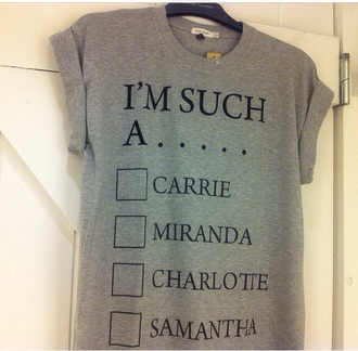 t-shirt grey sweater sex and the city carrie bradshaw samantha funny shirt