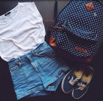 bag navy backpack dots back to school white jeans