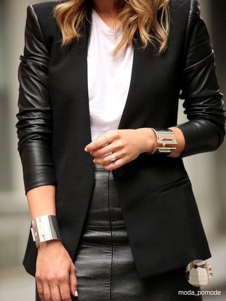 jacket leather jacket black leather blazer minimalist minimalist skirt leather sleeves leather skirt black leather skirt bracelets white t-shirt brooklyn blonde blogger