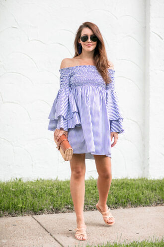 dallas wardrobe // fashion & lifestyle blog // dallas - fashion & lifestyle blog blogger dress shoes bag sunglasses jewels clutch off the shoulder dress blue dress bell sleeve dress sandals