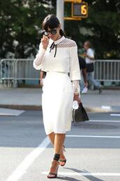 top,crop tops,white,fashion week 2014,streetstyle,dress,white dress,white cut out dress,blouse