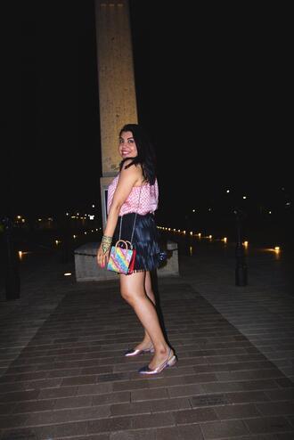 the neon factor blogger top skirt shoes bag slingbacks mini skirt