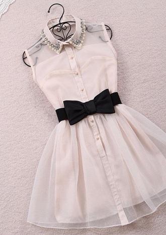 dress belt collared dress black belt beading clothes-dresses