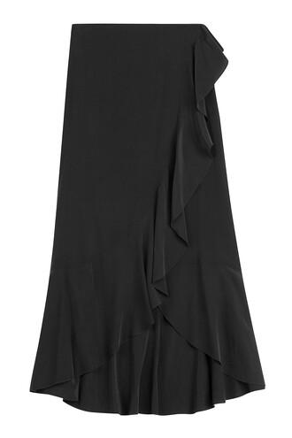 skirt maxi skirt maxi ruffle silk black