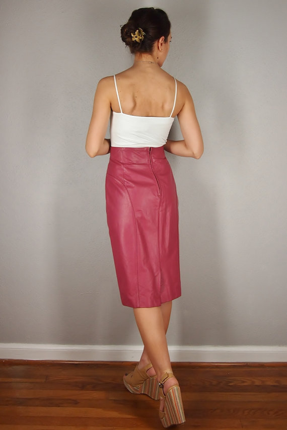 Pink Leather Pencil Skirt, HIGH WAIST, Medium/Large, Mauve Genuine ...