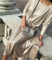 skirt,tumblr,metallic pleated skirt,pleated skirt,pleated,metallic,silver,blouse,metallic blouse,bag,silver bag,all nude everything