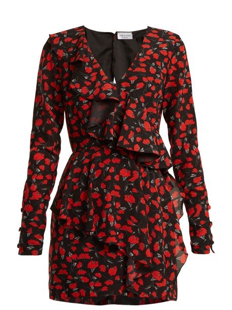 RAQUEL DINIZ dress floral print silk black red