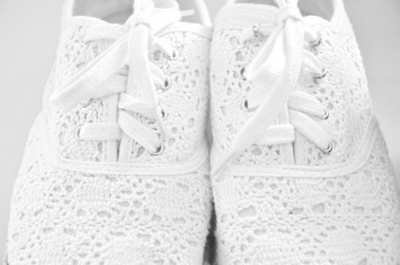shoes sneakers white crochet