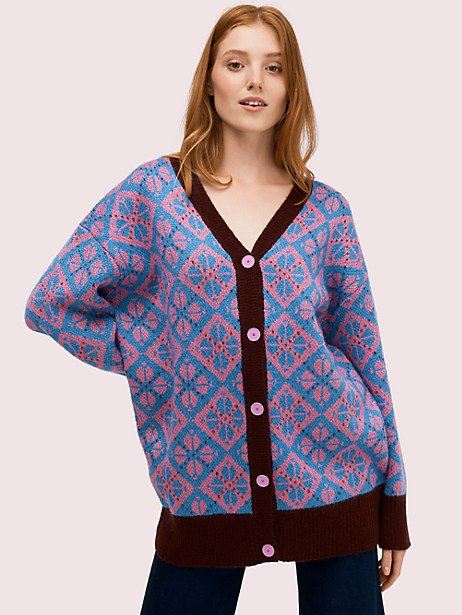 Kate Spade Spade Geo Cardigan, Stained Glass Blue - Size S