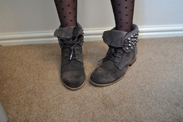 Studs Studded Spikes Black Boots Tie Up Folded Grey