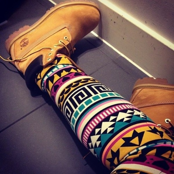 pants leggings aztec timberlands shoes