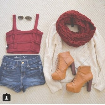 burgundy scarf cute sweater shoes outfit sunglasses top shorts heels high heels red crop tops cardigan summer outfits hippie high waisted shorts boho lovely cute outfit boho shirt boho chic boho style chunky heels lace-up shoes ankle boots platform lace up boots scarf red
