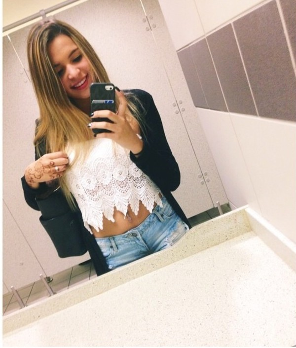 top white lace crop tops cardigan black sweater