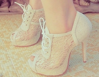 shoes open toes heels white lace-up shoes lace high heels open toes girl