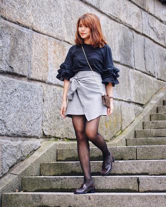 skirt navy top tumblr mini skirt wrap skirt asymmetrical grey skirt top tights shoes