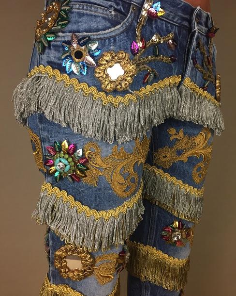 jeans embellished dolce gabbana tassel sequins runway dolce and gabbana fringes dolce and gabbana denim jeans