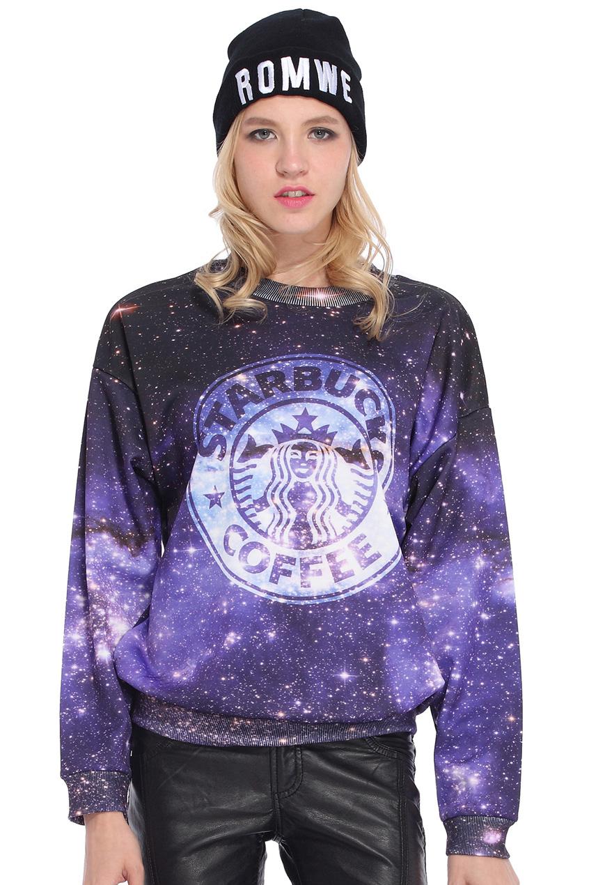 ROMWE | Starbuck Coffee in Galaxy Print Sweatshirt, The Latest Street Fashion