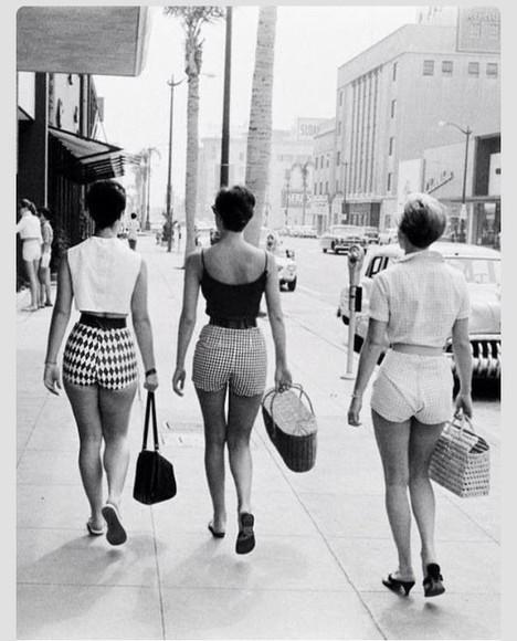 vintage High waisted shorts shorts printed shorts 60s style