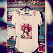 blouse,frida kahlo,fashion,white t-shirt,mexico,mexican style,mexican shirt,mexican serape,mexican aztec,mexican art