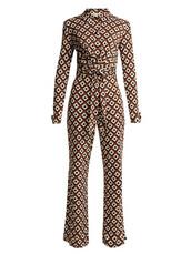 jumpsuit,print,silk,brown