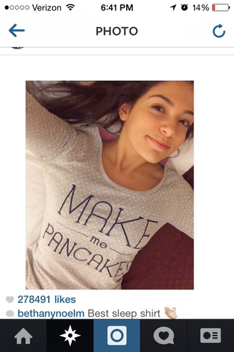 shirt bethany mota pancakes pajamas polka dots breakfast gray and says  make me pancakes
