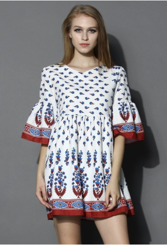 Flare Sleeves Boho Dolly Dress in White - Retro, Indie and Unique Fashion