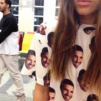 shirt drake white drake's face drakes face t-shirt t shirt tshirt