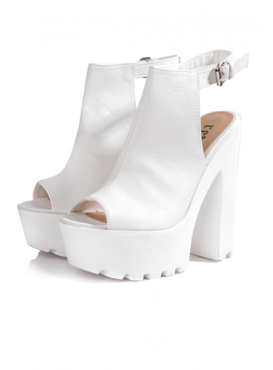 White Cleated Sole Ankle Strap Platform Heels