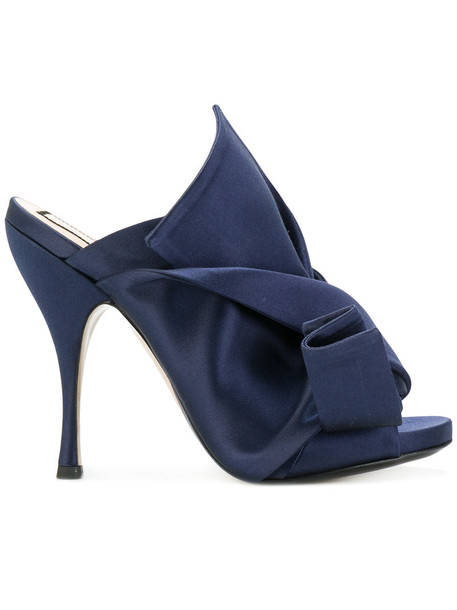 No21 women mules leather blue silk shoes
