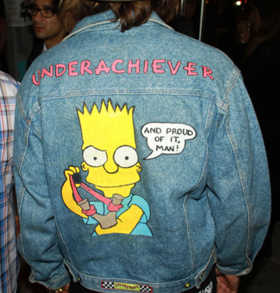 jacket denim fashion grunge 90's soft cute pink rad the simpsons punk rock perf wow arctic monkeys bart simpson jeans jacket simpsons jean jacket, jacket