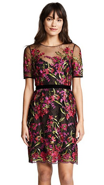 Marchesa Notte dress cocktail dress embroidered black