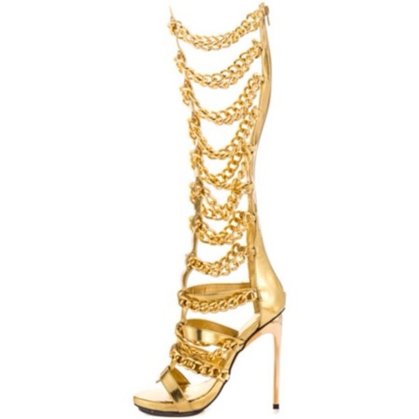 Shoes: gold chain, gladiators - Wheretoget