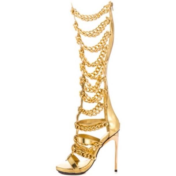 cf14c3c1b954 shoes gold chain gladiators