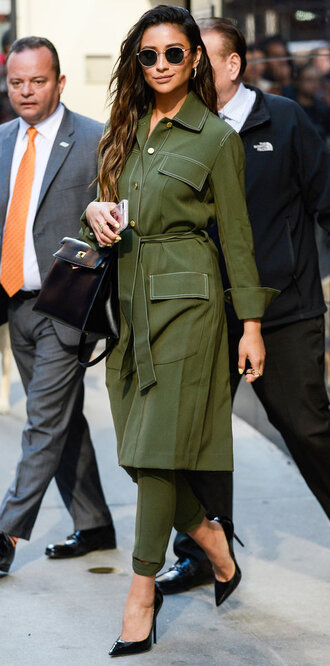 pants coat trench coat khaki pants khaki olive green shay mitchell spring outfits