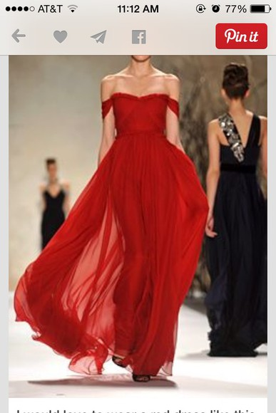 maxi dress prom dress homecoming dress red dress off the shoulder long dress
