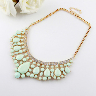 jewels necklace statement necklace pearl mint gold girly jewelry green boho style fashion chic circle skirt boho chic indie boho indie nadia elegance wear nail polish outfit tumblr outfit tumblr shirt tumblr shorts