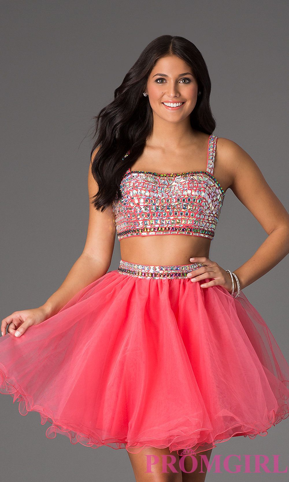 Two Piece Crop Top Short Prom Dress