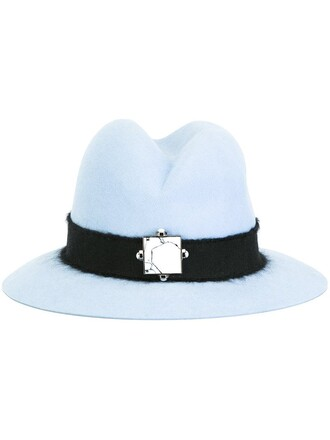 fur women fedora blue hat