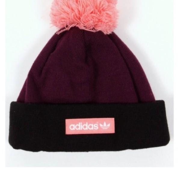 hat burgundy pink adidas pom pom beanie beanie 41022f9e046