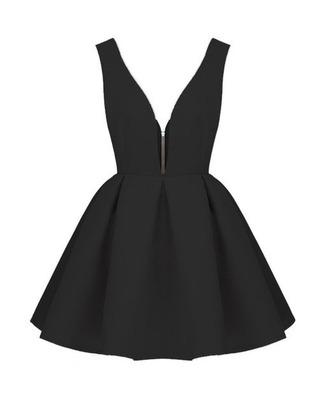 dress black skater dress v neck short dress backless sleeveless