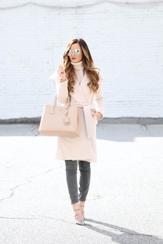 for all things lovely blogger nude coat nude bag nude grey jeans winter outfits