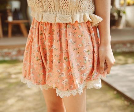 Yumart   Floral Lace Shorts