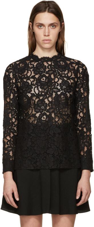 blouse lace black black lace top