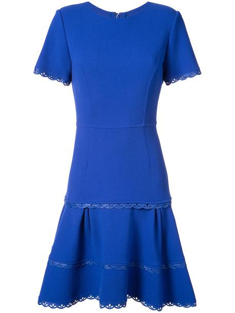oscar de la renta dress pleated dress pleated women spandex blue wool