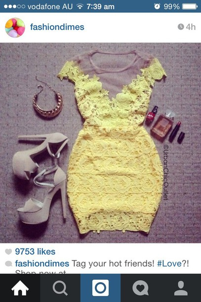dress lace dress yellow dress mini dress