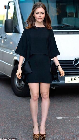 lily collins black dress dress
